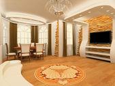 Dekorativní ornament s laminované podlahoviny desky a cihly maso — Stock fotografie
