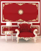 Luxurious armchair in royal red interior — Stock Photo