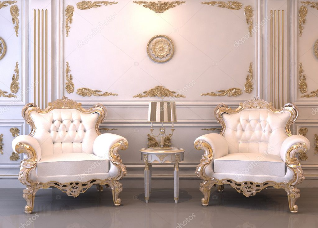 Royal furniture in luxury interior. Two baroque armchairs with frames — Stock Photo #5716331