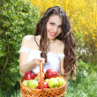 Girl in white dress presents basket of apples — Stok Fotoğraf #5731098