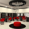 Luxurious interior of a beauty salon with creative ceiling - Photo