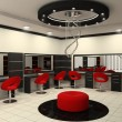 Luxurious interior of a beauty salon with creative ceiling — Stock Photo