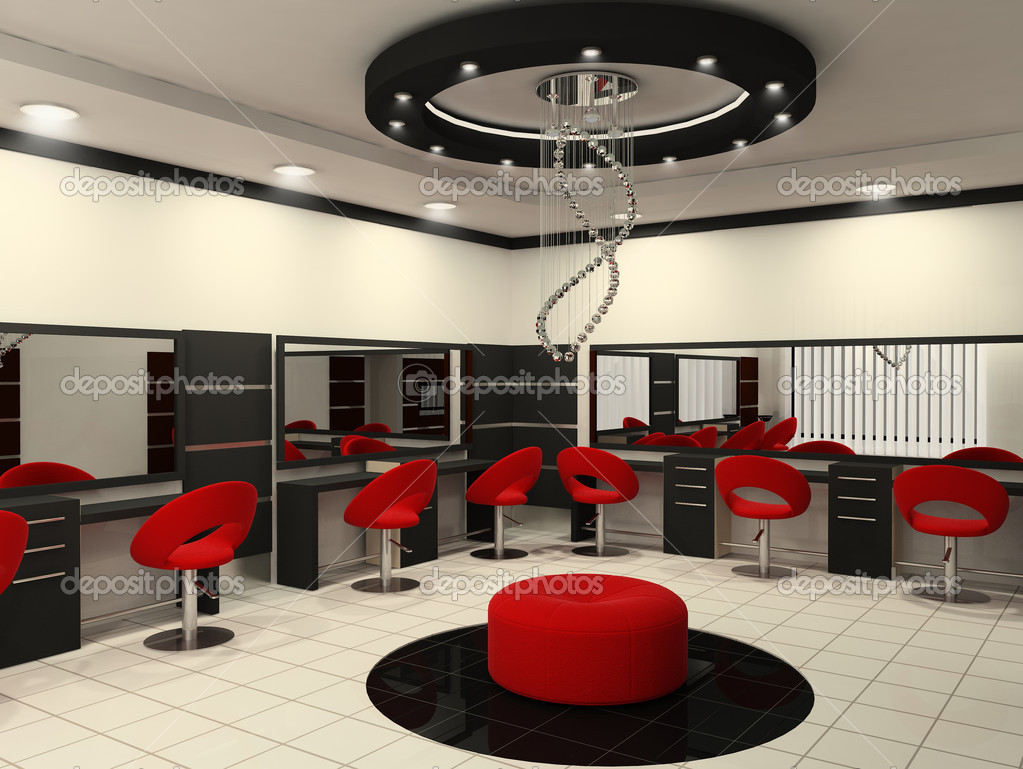 Luxurious interior of a beauty salon with creative ceiling — Stock ...