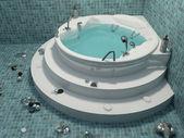 Bath with decoration in bathroom interior — Stock Photo