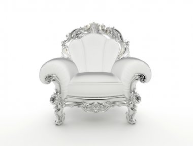 Luxuty baroque armchair with silver frame isolated on white back