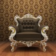 Leather Luxurious armchair in old styled interior with ornament — Stock Photo #5855664