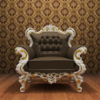 Leather Luxurious armchair in old styled interior with ornament — Stock Photo