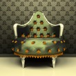Luxury decorative armchair on ornament wallpaper background — Stock Photo