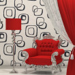Luxury armchair with standard lamp isolated on abstract wallpape - Stock Photo