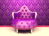 Luxurious armchair isolated on wallpaper with ornament — Stock Photo
