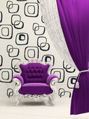 Royal armchair with curtain isolated on ornament wallpaper — Stock Photo