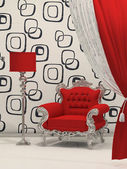 Luxury armchair with standard lamp isolated on abstract wallpape — Stock Photo