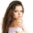Stock Photo: Sensuality and attractive young woman face with beauty hairs