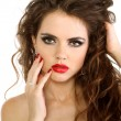 Portrait of sexy beautiful woman with bright make-up and curl ha — Stock Photo