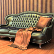 Sofa with pillow and coverlet in interior with  stripped wallpap - Stock Photo