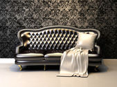 Leather sofa in interior with decoration wallpaper — Stock Photo