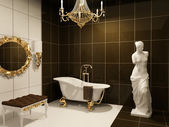Luxurious furniture with statue of Venus in baroque bathroom — Stock Photo