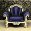 Modern Baroque armchair with decorative frame in luxury interior — Stock Photo