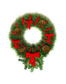 Round wreath Christmas-tree decorations on the door. — Stock Photo
