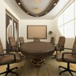 Desk with chairs in office interior. Workplace — Foto de Stock