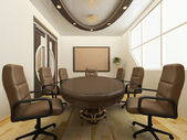 Desk with chairs in office interior. Workplace — Stock Photo
