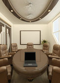 Perspective round table with computer in office interior. Workpl — Stock Photo