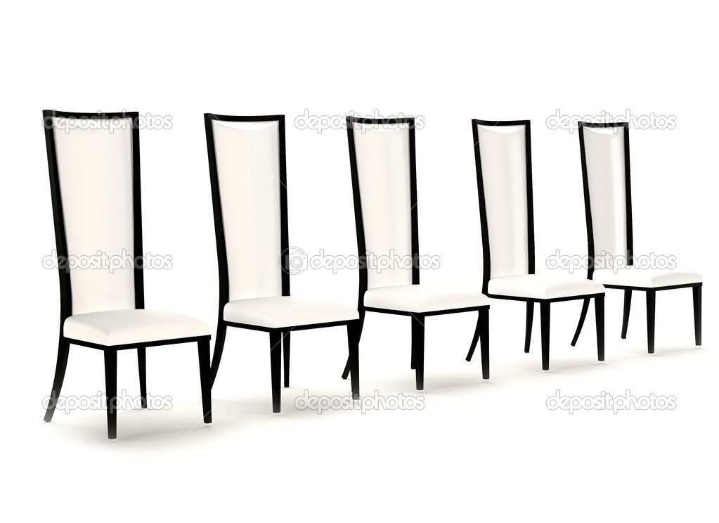 Perspective of white leather chairs isolated on white background  Stock Photo #6157418