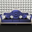 Luxurious sofa with cushion on buttoned background in interior - Stock fotografie