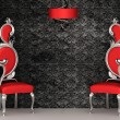 Two red chairs with royal back isolated on ornament wallpapers — Foto de Stock
