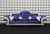 Luxurious sofa with cushion on buttoned background in interior — Stock Photo