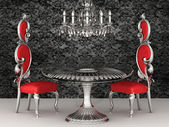 Baroque chairs. Royal interior. Wallpaper. — 图库照片