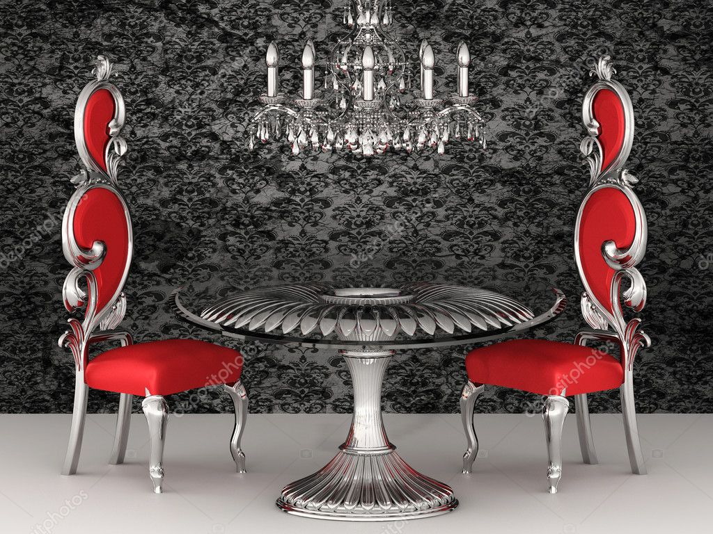 Baroque chairs. Royal interior. Wallpaper. — Stock Photo #6177981