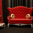 Red sofa and hookah in interior. Drapery — Stock Photo