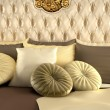 Stock Photo: Deluxe back of bed and pillows. Royal and luxurious