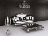 Royal furniture in Baroque interior. Sofa with pillows and table — Stock Photo