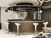 Round bar with standing chairs in modern interior .Yin Jansky — Стоковое фото