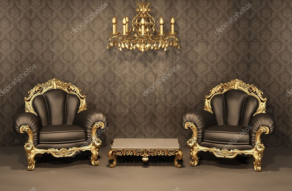 Baroque Armchairs with gold frame in old interior. Luxurious furniture. Deluxe apartment  Stock Photo #6180184