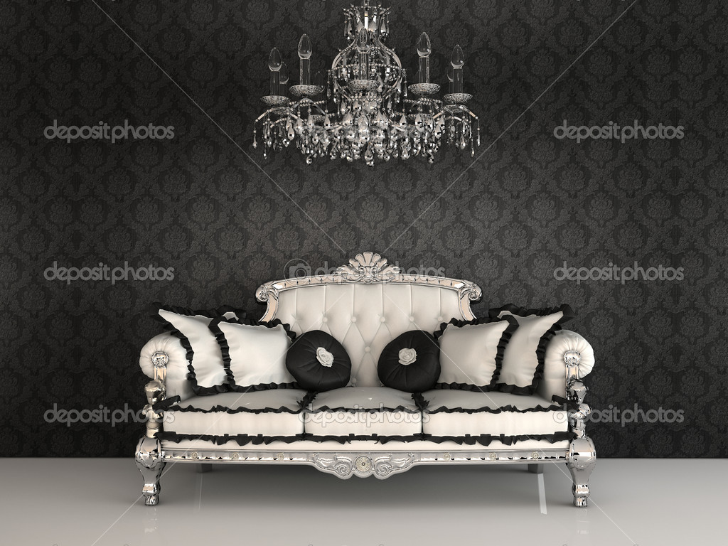 Royal sofa with pillows and chandelier in luxurious ...
