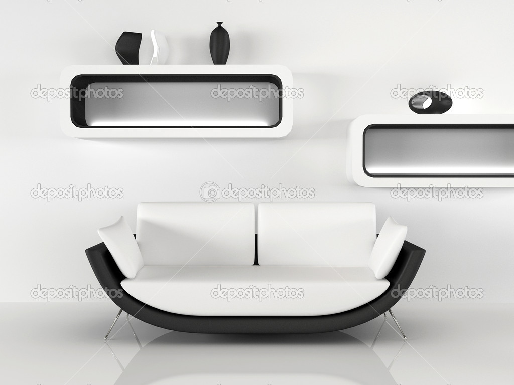 Modern sofa with decoration in minimalism interior for 500 decoration details minimalism
