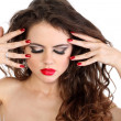 Stock Photo: Beauty make-up and red nails of sexy lady