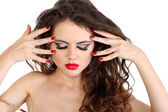 Beauty make-up and red nails of sexy lady — Stock fotografie