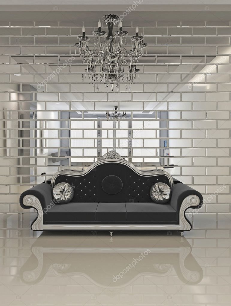 Moderne schwarze sofa im royal interieur wohnung raum — stockfoto ...