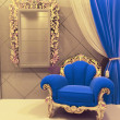 Royal  furniture in a luxurious interior, dark blue pattern — Stock Photo