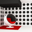 Pop art interior. Round armchair. Geometrical interior - Stock Photo