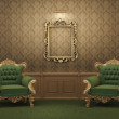 Armchairs and Empty golden frame on a wall. Royal apartment. Lux — Stock Photo