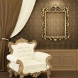 Armchair with frame in royal apartment interior. Luxurious Furni — Stock fotografie