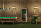Billiards. pool table and furniture in luxurious interior. Empty — Stock Photo