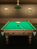Billiard or pool table in luxurious interior with pattern wallpa — Stock Photo
