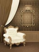 Sessel mit gestell aus königlichen appartement interieur. luxuriöse möbel — Stockfoto