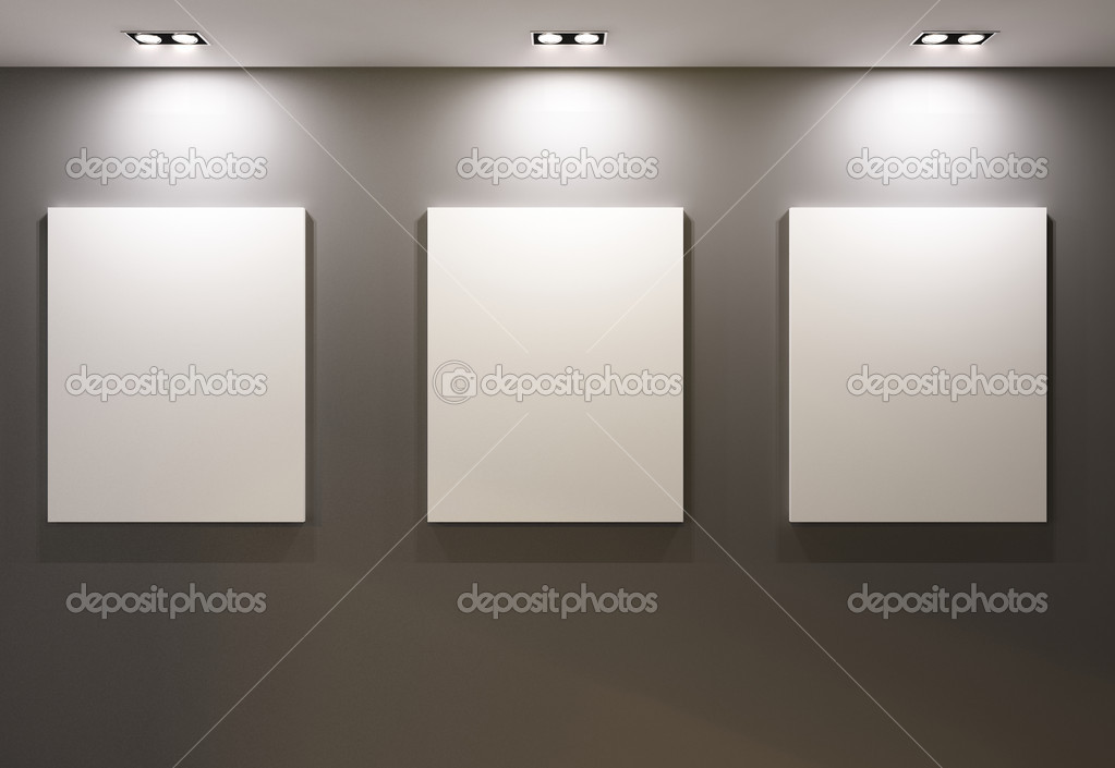 Empty frames on grey wall in gallary of  museum interior  Stock Photo #6479924